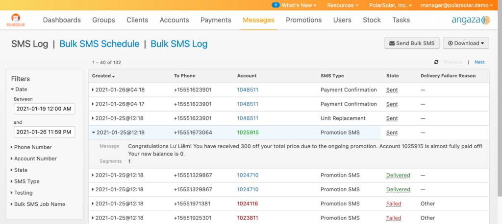 Bulk SMS sends can help increase repeat sales and prevent payment defaults